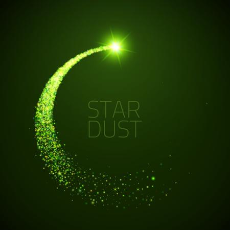gwiazda koło kurz. Magia błyszczące ilustracji. Jasne zielone Sparkes i gwiazdy na ciemnym tle