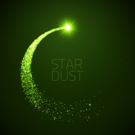 star dust circle. Magic glittering illustration. Bright green sparkes and stars on dark background