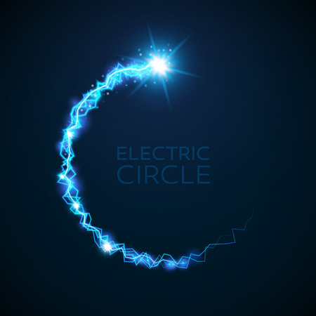 blue circle: blue electric circle. Magic effect illustration. Bright light bolts and stars on dark background Illustration