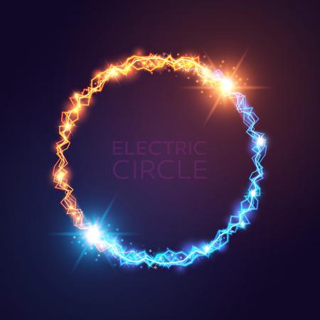 青と黄色の電気円。魔法の効果の図。明るい光がボルトし、暗い背景の星