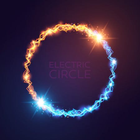blue and yellow electric circles. Magic effect illustration. Bright light bolts and stars on dark background