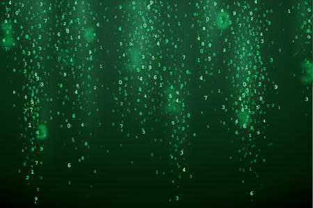 bytes: Green abstract background with random digital numbers. Virtual matrix illustration. Green symbols in VR.