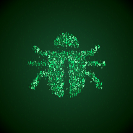 error de software icono hecho de números digitales. Ilustración del virus de ordenador. Bug fix pictograma. Software icono de error dentro de un código de ordenador. Ilustración de vector