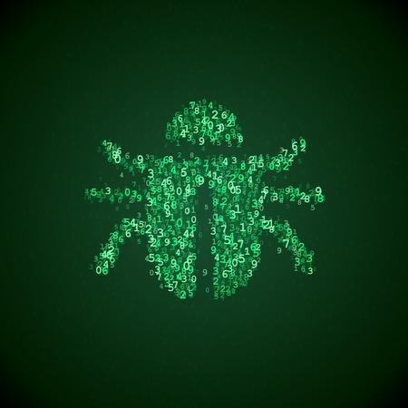 Software-Bug-Symbol von digitalen Zahlen gemacht. Computer-Virus Illustration. Bug fix Piktogramm. Software Bug Symbol in Computer-Code. Standard-Bild - 57464850