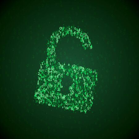internet safety: lock icon made of digital numbers. Internet safety illustration. Security pictogram. Software hacking symbol.