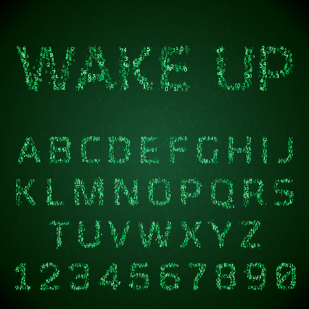 bytes: font made of digital numbers. Glowing green symbols hacker style. Virtual reality concept. Latin letters from A to Z and numbers from 0 to 9. Illustration