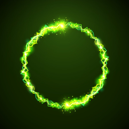 bright light: green electric circles. Magic effect illustration. Bright light bolts and stars on dark background Illustration