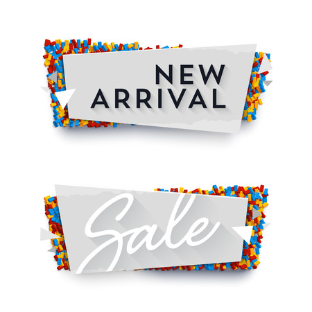 titles: Vector banner concept. Paper upon plastick bricks. Labels say New Arrival and Sale.