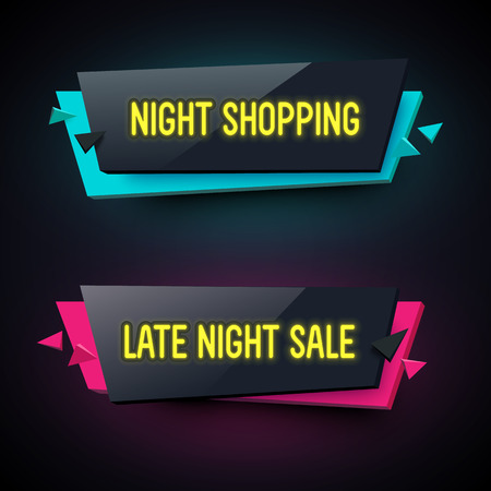 plastic material: Set of geometric neon . Glossy plastic material style. Origami paper. Late Night Sale and Night Shopping labels.