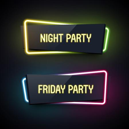 Set van geometrische neon. Glanzende kunststof stijl. Origami papier. Night Party en vrijdag Party labels.