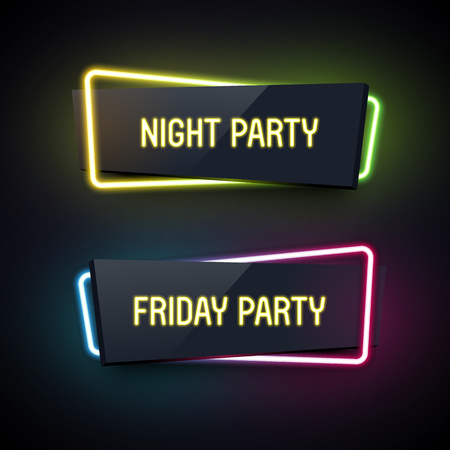 Set of geometric neon . Glossy plastic material style. Origami paper. Night Party and Friday Party labels. Illustration