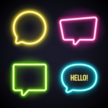 speaking tube: Set of light tube chat bubbles. Glowing in the dark signs. Set of four items.