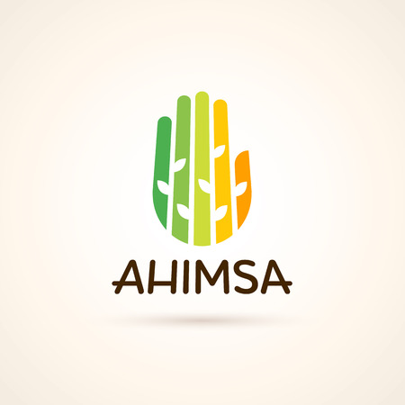 Modern yoga template. Ahimsa label. Colorful hand with plants on it.
