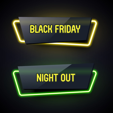 plastic material: Set of geometric neon . Glossy plastic material style. Origami paper. Black Friday and Night Out labels.