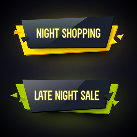 late: Set of geometric neon . Glossy plastic material style. Origami paper. Late Night Sale and Night Shopping labels.