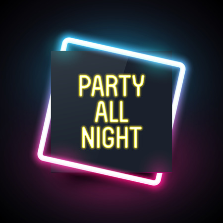 Square neon light for party design. Night club template. Dark with retro light effect. Vettoriali