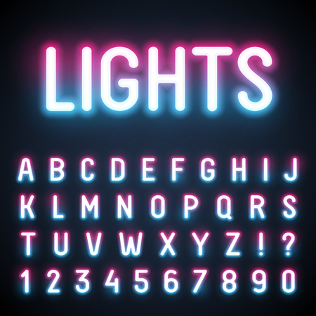 fluorescent tube: Glowing neon tube font. Retro text effect. Latin letters from A to Z and numbers from 0 to 9. Pink to light blue gradient light.