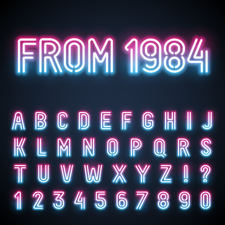 retro font: Glowing neon tube font. Retro text effect. Latin letters from A to Z and numbers from 0 to 9. Pink to light blue gradient light.
