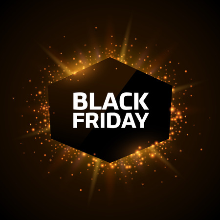 Black Friday advertisement template. Gold dust and beams on dark background. Geometrick shape with text.