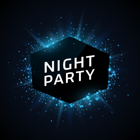 Night Party advertisement template. Blue dust and beams on dark background. Geometrick shape with text.