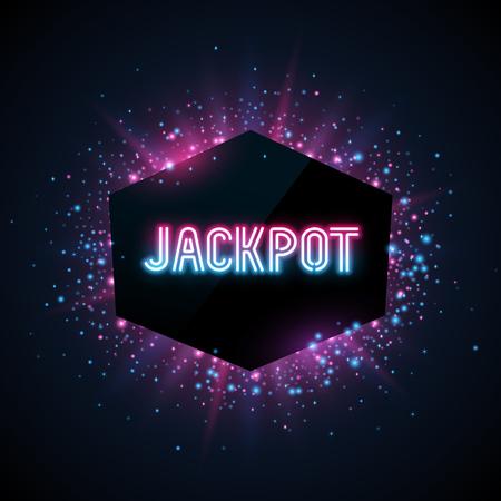 Jackpot advertentie sjabloon. Blauw, paars en roze stof en balken op een donkere achtergrond. Geometrick vorm met tekst. Stock Illustratie