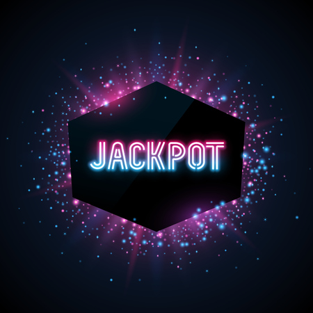Jackpot advertisement template. Blue, purple and pink dust and beams on dark background. Geometrick shape with text.