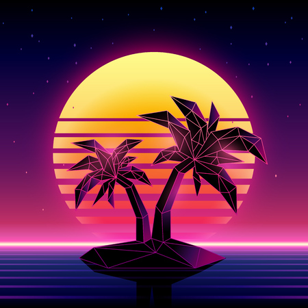 Retro futuristic background 1980s style. Digital palm tree on a cyber ocean in the computer world. Retrowave music album cover template with sun, palm, island and laser grid ovr the ocean.