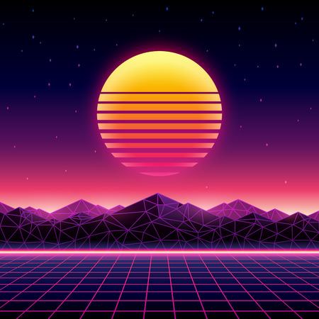Retro futuristic background 1980s style. Digital landscape in a cyber world. Retrowave music album cover template with sun, space, mountains and laser grid on terrain.