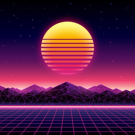 Sfondo futuristico retrò stile anni '80. Paesaggio digitale in un mondo cibernetico. Modello di copertina dell'album musicale Retrowave con sole, spazio, montagne e griglia laser sul terreno.