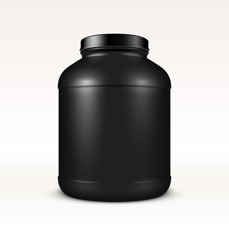 bottle of medicine: Super realistic sport nutrition container without label. Whey protein and mass gainer black plastic jar isolated on white background.