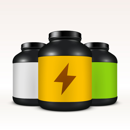 energy drink: Super realistic sport nutrition container template. Easy to change label color. Whey protein and mass gainer black plastic jar isolated on white background.