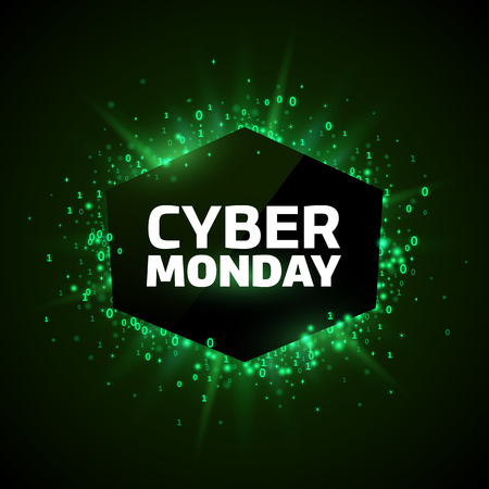 special event: Cyber Monday promotion template. Green explosion made of stars and digits on a dark background.