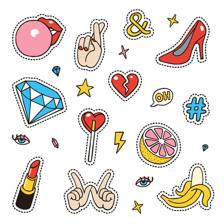 Set of fashion sketchy patches. Different trendy badges and pins. Oldschool  pictograms in line-art style with 90's colors. Hearts, hands, fruits, hashtegs and diamonds icons.