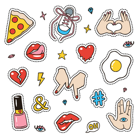 Set of fashion sketchy patches. Different trendy badges and pins. Oldschool pictograms in line-art style with 90's colors. Hearts, hands, fruits, hashtags and diamonds icons. Ilustração