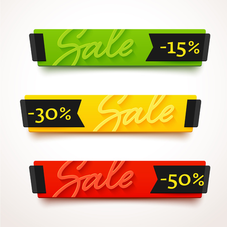 Ecommerce bright . Nice plastic cards in material design style. Transparent blue, green and yellow papers with black ribbons. Vettoriali