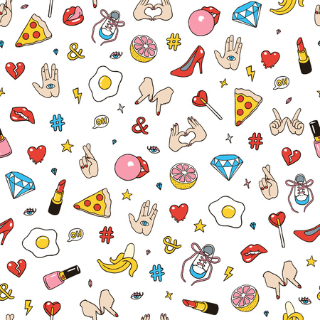 Seamless pattern made of fashion sketchy patches. Different trendy badges and pins. Oldschool vector pictograms in line-art style with 90s colors. Hearts, hands, fruits, hashtegs and diamonds icons.
