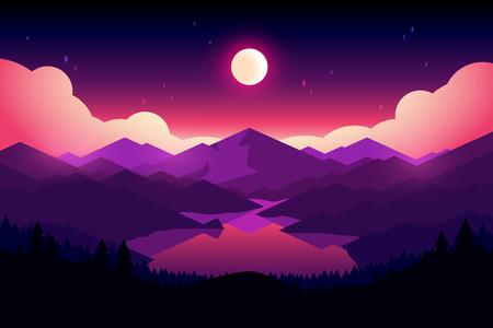 ベクター山、夜の湖と森の風景。美しい幾何学的な図。