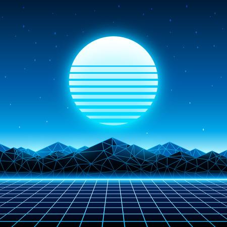 レトロな未来的な背景 1980 年代スタイル。Cyber の世界でデジタル風景。Retrowave 地形に太陽、宇宙、山、レーザー グリッドと音楽のアルバムの表紙の  イラスト・ベクター素材