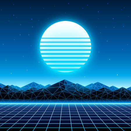 album cover: Retro futuristic background 1980s style. Digital landscape in a cyber world. Retrowave music album cover template with sun, space, mountains and laser grid on terrain.
