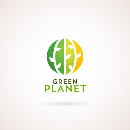green plants: Modern natural template. Green Planet label. Green circle with plants on it. Illustration