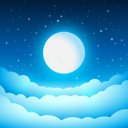 skies: Full moon in the night sky. Fairy Tale cover or background. Bright moonlight above the clouds. Vector dreamy illustration.