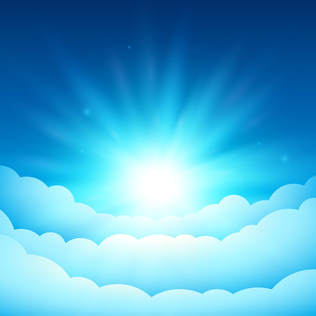 Bright sun in the blue sky. Fairy Tale cover or background. Bright sunlight above the clouds. Vector dreamy illustration.