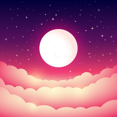 clouds sky: Full moon in the night sky. Fairy Tale cover or background. Bright moonlight above the clouds. Vector dreamy illustration.