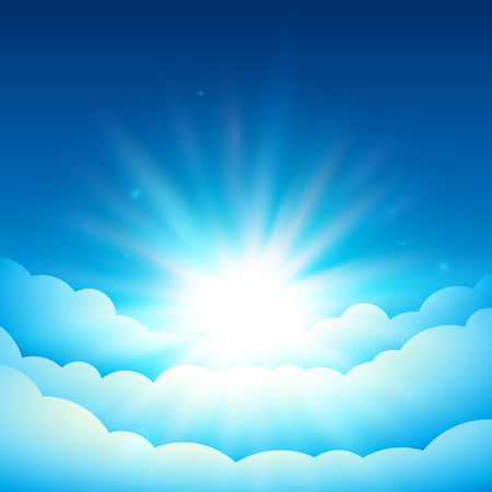 bright sun: Bright sun in the blue sky. Fairy Tale cover or background. Bright sunlight above the clouds. Vector dreamy illustration.