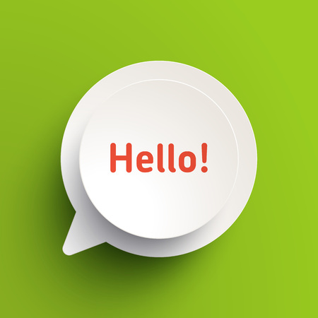 dialogue: Vector realistic paper banner template. Material design style, white paper circle on a white paper chat bubble with drop shadows. Light green background.