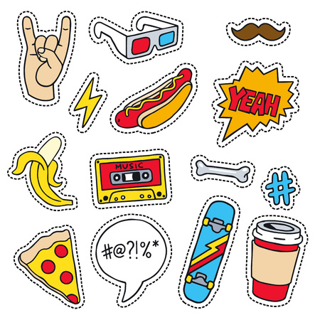 masculine: Set of masculine sketchy patches. Different trendy badges and pins. Oldschool vector pictograms in line-art style with 90s colors. Skate, mixtape, coffee and lightning bolt icons.