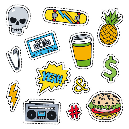 oldschool: Set of masculine sketchy patches. Different trendy badges and pins. Oldschool vector pictograms in line-art style with 90s colors. Skate, mixtape, coffee and lightning bolt icons.