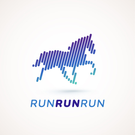 run out: Run logotype. Running horse silhouette made out of dynamic lines. Equalizer design style. Could be used as icon or pictogram.