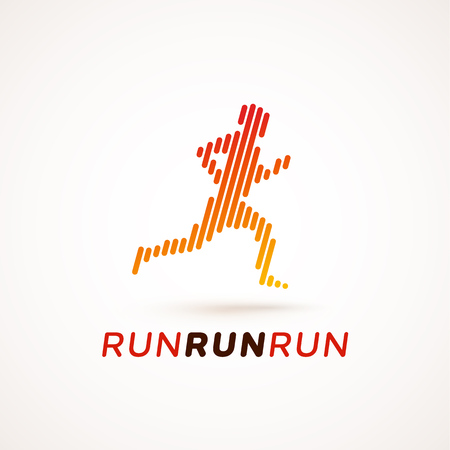 run out: Run logotype. Running man silhouette made out of dynamic lines. Equalizer design style. Could be used as icon or pictogram. Illustration