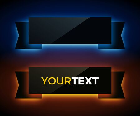 glossy: Vector glowing ribbons on dark background. glass material style. Illustration